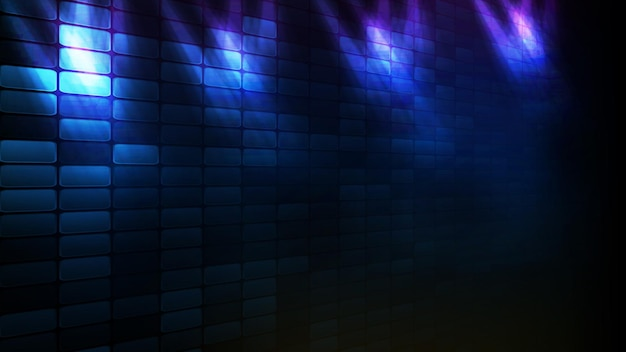 Streszczenie futurystyczne tło niebieskiej cegły i oświetlenia tła sceny spotlgiht