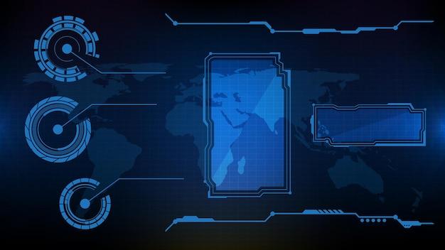 Streszczenie futurystyczne tło niebieskiej świecącej technologii sci fi frame hud ui element
