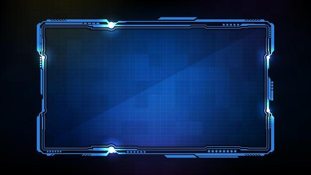 Streszczenie futurystyczne tło niebieskiej świecącej technologii sci fi frame hud ui