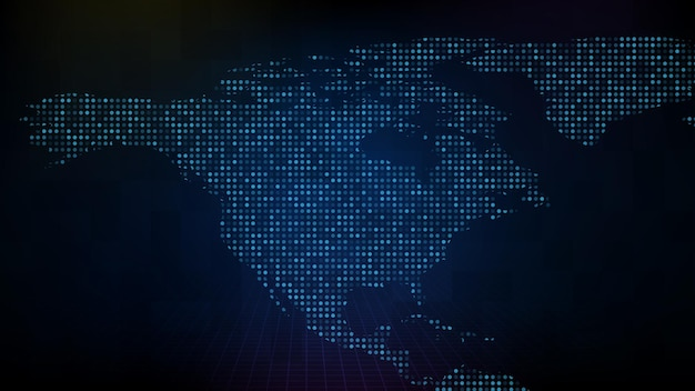 Streszczenie futurystyczne tło technologii niebieskiej cyfrowej mapy ameryki północnej na