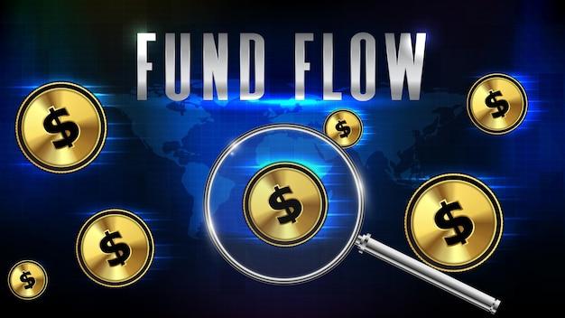 Streszczenie futurystyczne tło technologii przepływu funduszy i monety dolara amerykańskiego ze szkłem powiększającym