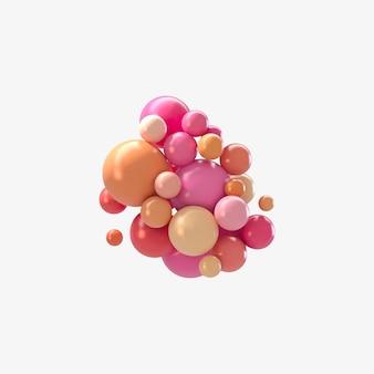 Streszczenie futurystyczne tło z kolorowych kulek 3d, błyszczące bąbelki, kulki.