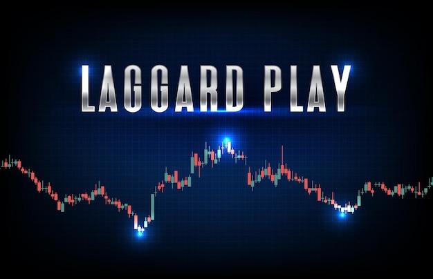 Streszczenie futurystycznej technologii tło laggard play akcji i wykres słupkowy świecy stick zielony i czerwony