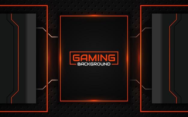 Streszczenie futurystyczny czarny i pomarańczowy tło do gier