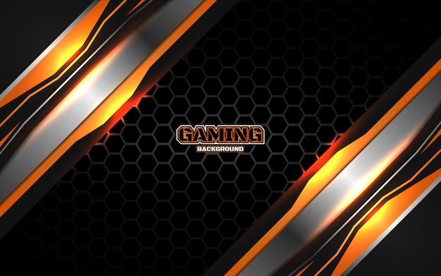 Streszczenie futurystyczny czarny i pomarańczowy tło gier