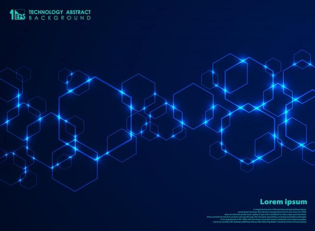 Streszczenie futurystyczny kształt sześciokąta