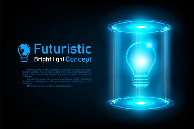Streszczenie futurystyczny pomysł żarówka hologram