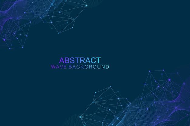 Streszczenie futurystyczny technologia cząsteczek tła z wielokątnymi kształtami na ciemnym niebieskim tle. koncepcja projektowania technologii cyfrowej, ilustracji wektorowych naukowych.
