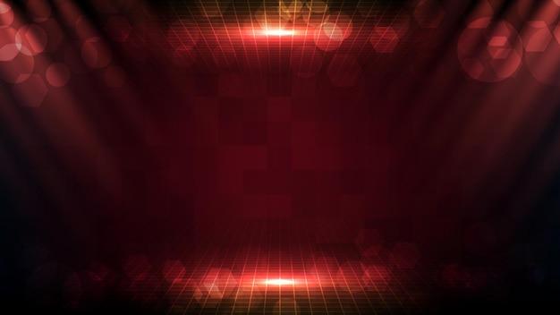 Streszczenie futurystycznym czerwonym tle z pięknym promieniem reflektora