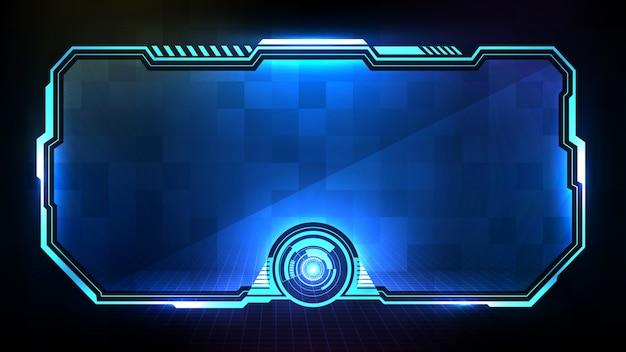 Streszczenie futurystycznym tle niebieskiej świecącej technologii sci fi ramki hud ui