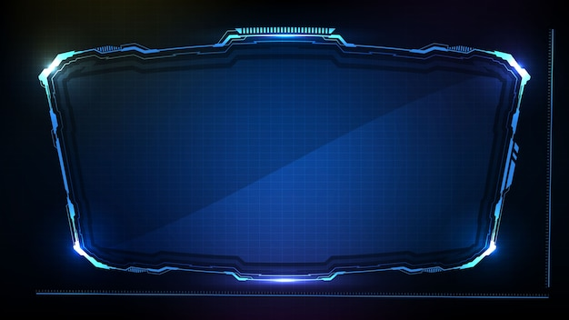 Streszczenie futurystycznym tle. niebiesko świecąca ramka science-fiction w technologii hud ui