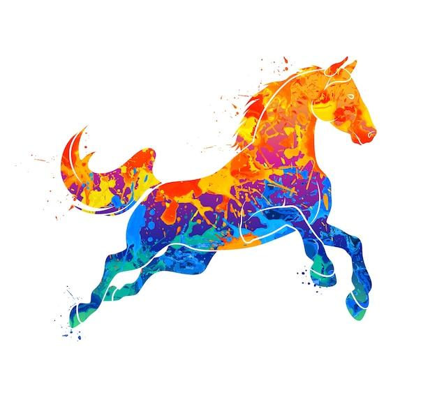 Streszczenie galopujący koń z plusk akwareli. ilustracja farb.