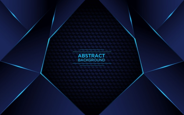 Streszczenie geometryczne ciemnoniebieskie tło z musujące niebieskie światło