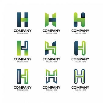 Streszczenie geometryczne litera h logo szablon