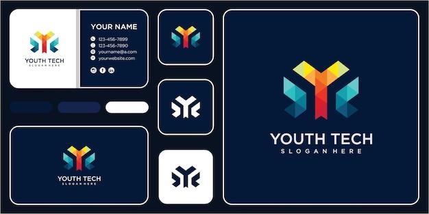 Streszczenie geometryczne litery y wektor logo. koncepcja projektowania logo litery y tech z wizytówką