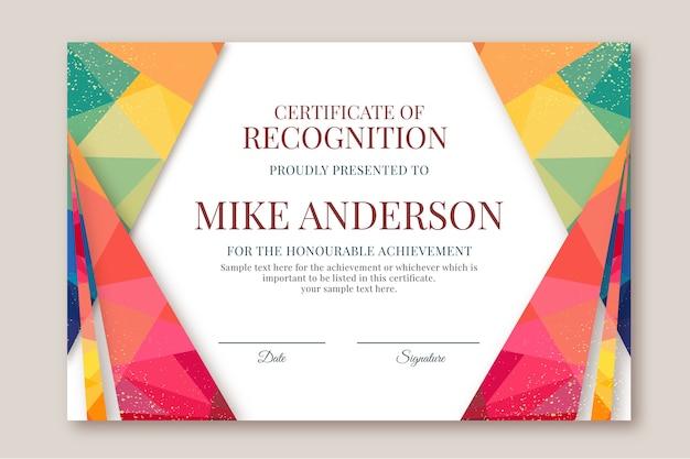 Streszczenie geometryczny certyfikat szablonu z kolorowymi kształtami