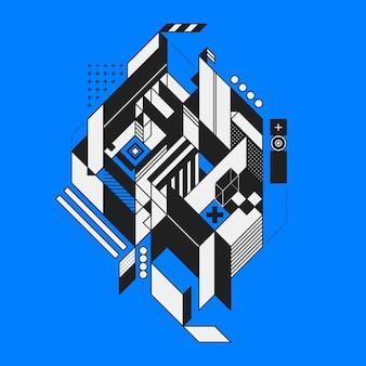 Streszczenie geometryczny element na niebieskim tle. styl futuryzmu i konstruktywizmu. użyteczne jako wydruki lub plakaty.