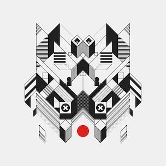 Streszczenie geometryczny element projektu na bia? ym tle. futurystyczny wygląd, kształt geometryczny.
