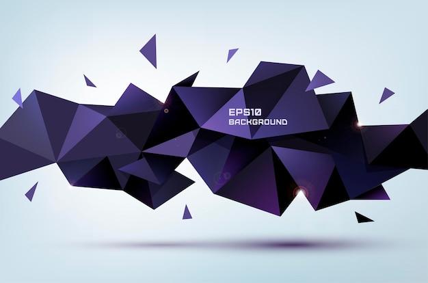Streszczenie geometryczny kształt 3d wektor. trójkątny wielokątny baner, plakat, tło