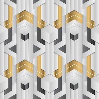 Streszczenie geometryczny wystrój paski biały i złoty element