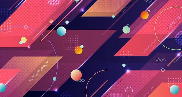 Streszczenie geometryczny wzór tła grafiki w stylu tech kolorowy wzór.