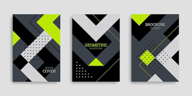 Streszczenie geometryczny zestaw okładek biznesowych