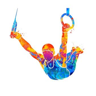 Streszczenie gimnastyczka na pierścieniach z pluskiem akwareli. ilustracja farb.