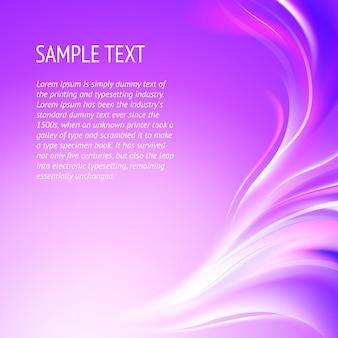 Streszczenie gładkie linie fioletowe tło z przykładowy tekst szablonu