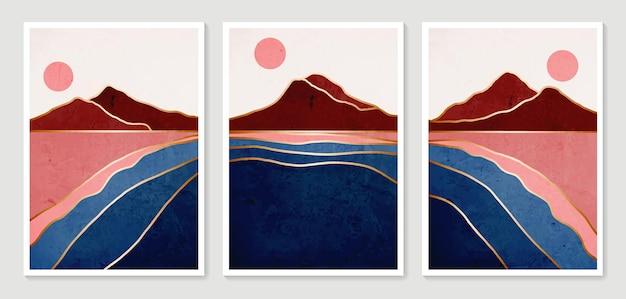 Streszczenie górskich współczesnych estetycznych tła krajobrazy. kolekcja nowoczesny minimalistyczny druk artystyczny