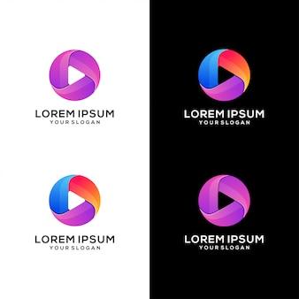 Streszczenie grać logo media wektor