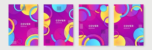 Streszczenie gradientowe wzory geometryczne okładki, modne szablony broszur, kolorowe futurystyczne plakaty. ilustracja wektorowa. próbki globalne
