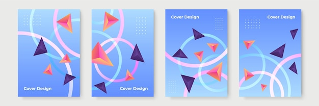 Streszczenie gradientowe wzory geometryczne okładki, modne szablony broszur, kolorowe futurystyczne plakaty. ilustracja wektorowa