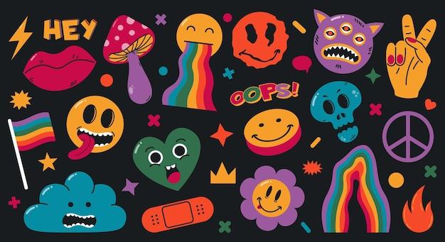 Streszczenie groovy komiks śmieszne emoji postaci z kreskówek. ładny komiks doodle naklejki, modne elementy retro wektor zestaw ilustracji. halucynacje dziwne kształty. psychodeliczna naklejka, surrealistyczna kreskówka