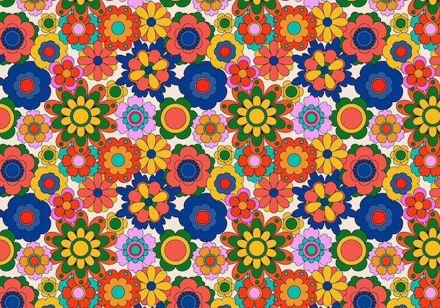 Streszczenie groovy kwiatowy wzór tła. ilustracja wektorowa.