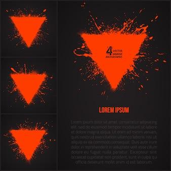 Streszczenie grunge kształt trójkąta zestaw wektor