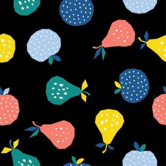Streszczenie gruszka i jabłko bezszwowe tło wzór. dziecinne ręcznie robione rzemiosło do karty projektowej, menu kawiarni, tapety, letniego albumu na prezenty, albumu z wycinkami, papieru do pakowania wakacji, nadruku na torbie, koszulki itp.
