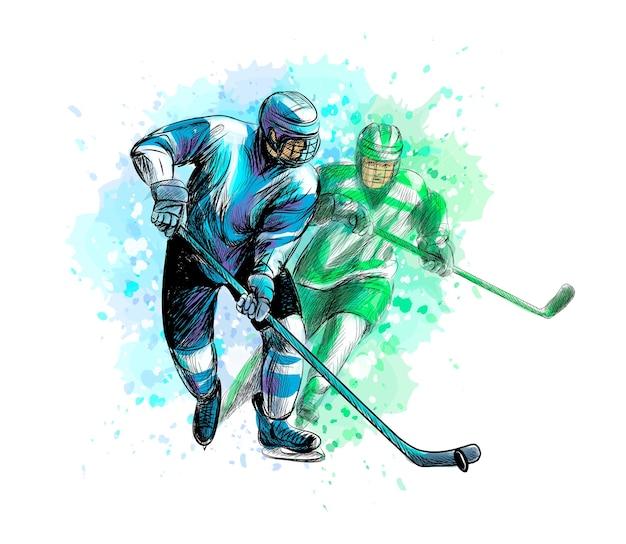 Streszczenie hokeista z pluskiem akwareli. ręcznie rysowane szkic. sporty zimowe. ilustracja farb