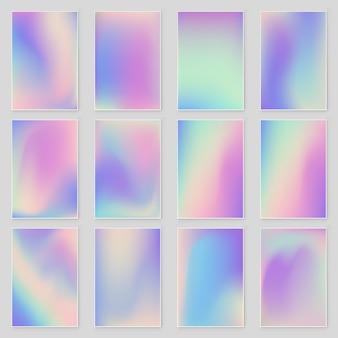 Streszczenie holograficzny opalizujący zestaw tekstur folia modern. wektor folii holograficznej