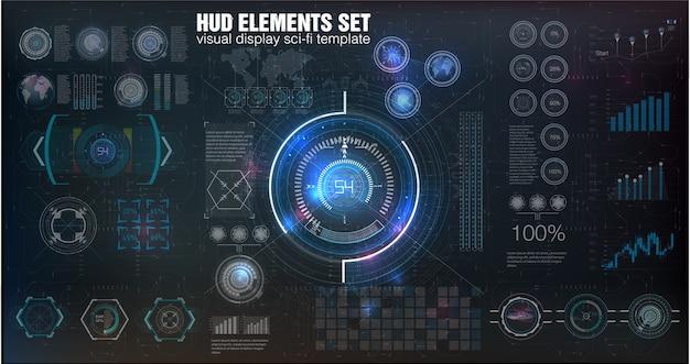 Streszczenie hud. futurystyczny zestaw nowoczesnego interfejsu użytkownika sci fi.