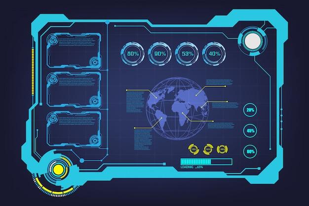 Streszczenie hud ui gui przyszłości futurystyczny ekran systemu wirtualnego
