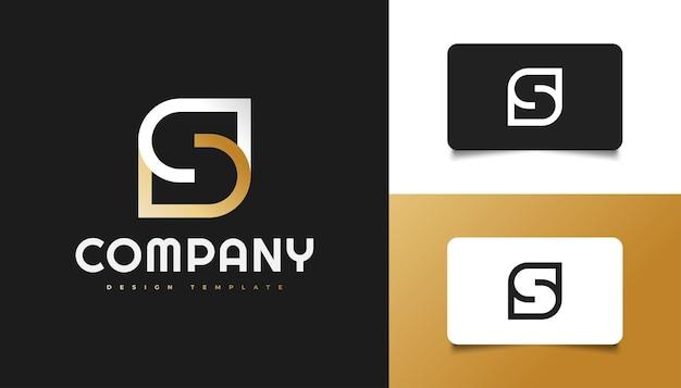 Streszczenie i minimalistyczny projekt logo litery s w kolorze białym i złotym. graficzny symbol alfabetu dla tożsamości biznesowej