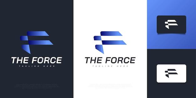 Streszczenie i nowoczesne projektowanie logo litery f w niebieskim gradientem z futurystyczną koncepcją. graficzny symbol alfabetu dla tożsamości biznesowej