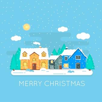 Streszczenie ikona bożego narodzenia z zimą do domu. idealna wakacyjna ilustracja z przytulnym domkiem na śniegu, domkiem.