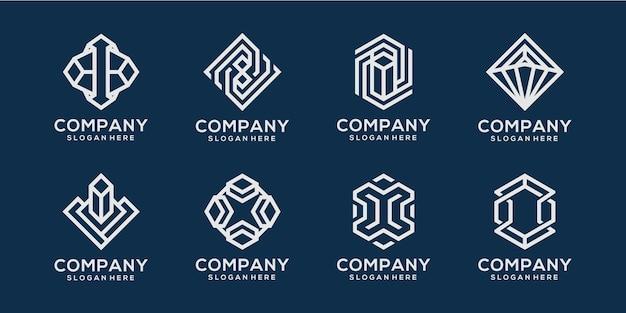 Streszczenie ikona logo monoline dla firmy
