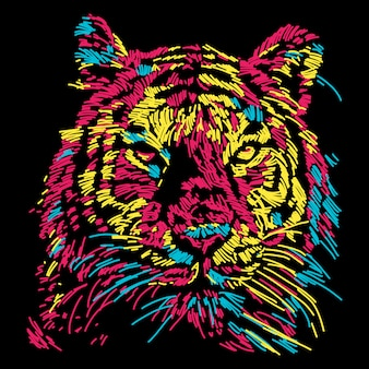 Streszczenie ilustracja kolorowy twarz tygrysa