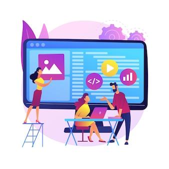 Streszczenie ilustracja koncepcja zespołu rozwoju oprogramowania. zdalna praca zespołowa, cyfrowy zespół na żądanie, profesjonalny, certyfikowany programista, wynajem firmy zewnętrznej.