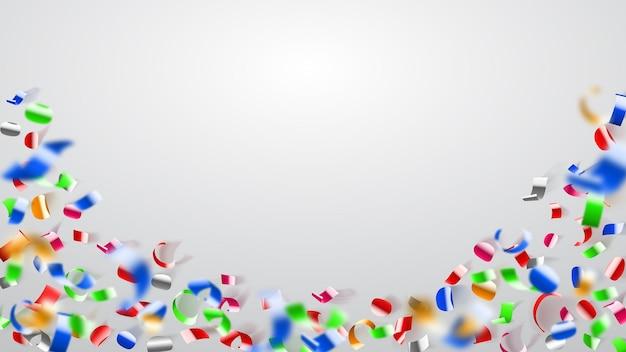 Streszczenie ilustracja latające błyszczące kolorowe konfetti i kawałki serpentyny na białym tle