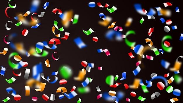Streszczenie ilustracja latające błyszczące kolorowe konfetti i kawałki serpentyny na czarnym tle