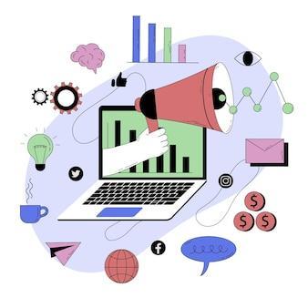 Streszczenie ilustracja marketingu cyfrowego