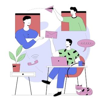 Streszczenie ilustracja osoby rozmawiającej z kolegami z zespołu